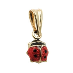 Pendant, Ladybird, Red/Black, 9K Gold