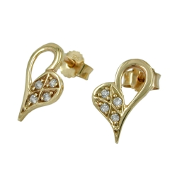 Earrings heart-shaped cz 9k gold
