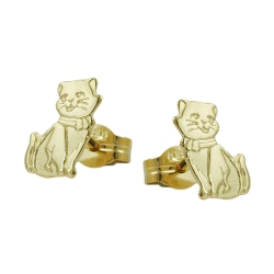 Stud earrings, cats, partly matte-finished, 8K GOLD