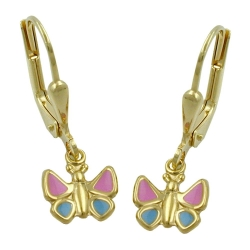 EARRINGS, BUTTERFLIES, PINK-BLUE, 9K GOLD