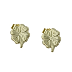 EARRINGS, LUCKY CLOVER LEAF, 9KT GOLD