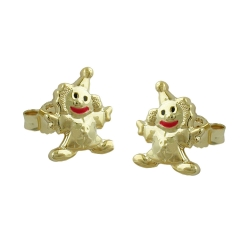 EARRINGS, CLOWN, 9K GOLD