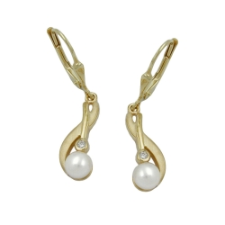 EARRINGS, LEVERBACK, PEARLS, 9K GOLD