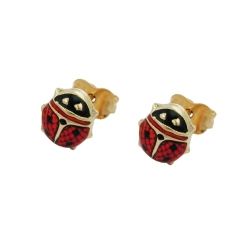 EARRINGS, LADYBIRD, RED-BLACK, 9K GOLD