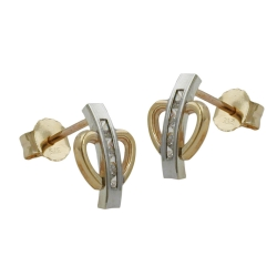 Stud Earrings, Bi-Coloured, Zirconia, 9K Gold