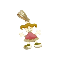 Pendant, Little Girl, Multicoloured, 9K gold