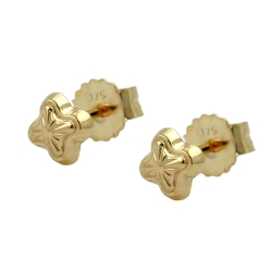 Stud Earrings, Stars, 4mm, 9K Gold