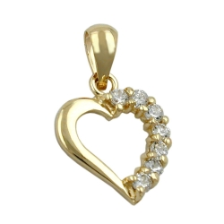 Pendant, 14mm, Heart with Zirconia, 9K Gold