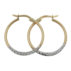 Hoop Earrings, Bicolour, Diamond Cut, 9K Gold