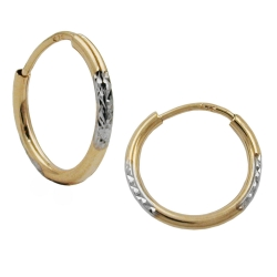 Hoop Earrings, Diamond Cut, 9K Gold