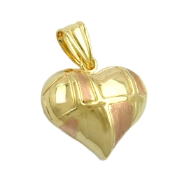 Pendant, Heart, Bi-Coloured, 9K Gold