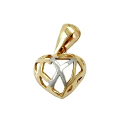 Pendant, Heart with Holes, 9K Gold