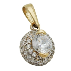 PENDANT, ZIRCONIA, TWO TONE, 9K GOLD
