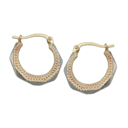HOOP EARRINGS, BICOLOR, 9K GOLD
