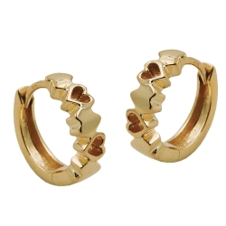 hoop earrings with hearts, 9K GOLD