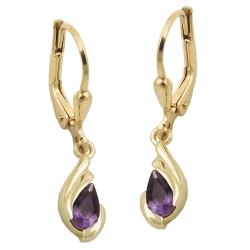leverback earrings, Amethyst, 9K GOLD