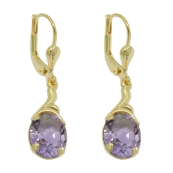 earrings, real amethyst, 8K GOLD