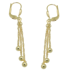 earrings leverback with 3 chains 8K GOLD