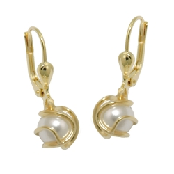 earrings plastic wax-white pearl 8K GOLD