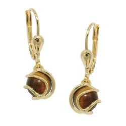 leverback earrings Tiger Eye 8K GOLD