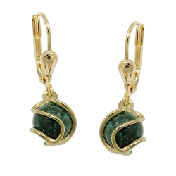 earrings, leverback, Malachite, 8K GOLD
