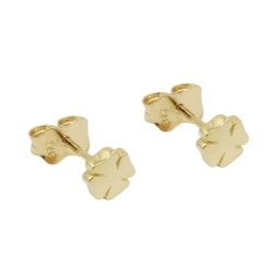 stud earrings, cloverleaf, 9K GOLD