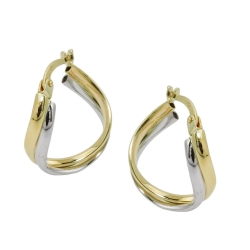 hoop earrings, two tone, 9K GOLD