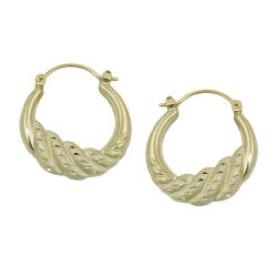 hoop earrings, matt-shiny, 14K GOLD