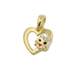 pendant, heart with cat head, 9K GOLD