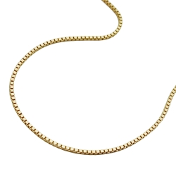 Necklace, Box Chain, 42cm, 9K Gold