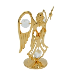 Angel with spear with crystal elements gold plated