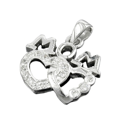 PENDANT, 'MOM', TWO HEARTS, ZIRKONIA, SILVER 925