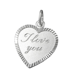 PENDANT, HEART I LOVE YOU, SILVER 925