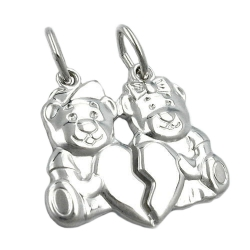 PENDANT, FRIENDSHIP, BEARS, SILVER 925