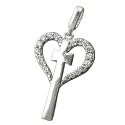 Pendant, Heart with Cross, Silver 925