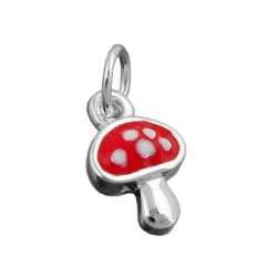 pendant, fly agaric, red, silver 925