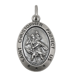 RELIGIOUS MEDAL, SAINT CHRISTOPHER, SILVER 925