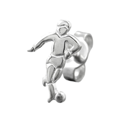 STUD EARRING, FOOTBALL PLAYER SILVER 925