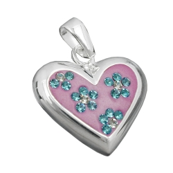 Heart Pendant with Zirconia, Silver 925