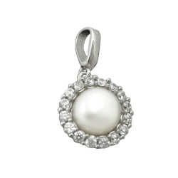 Pendant, Pearl with Zirconia, Silver 925