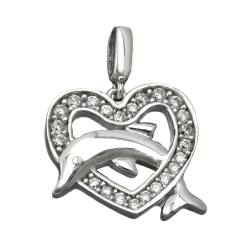 Pendant, Heart with Dolphin, Silver 925