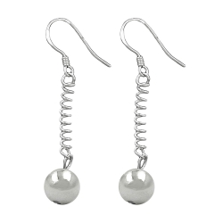 EARRINGS, BALL AND FEATHER, SILVER 925