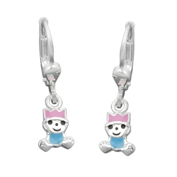 EARRING, LEVERBACK PINK-BLUE, SILVER 925