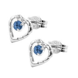 Earring, stud, heart, blue, silver 925