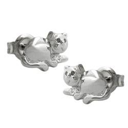 Stud Earrings, Cat, Rhodium Plated, Silver 925
