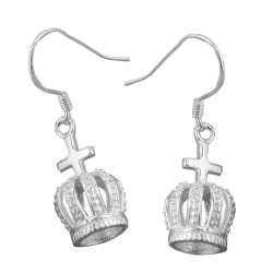 EARRINGS, CROWN WITH CROSS, SILVER 925