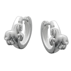 HOOP EARRINGS WITH HORSES, SILVER 925