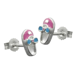 Studs slipper pink-light blue silver 925