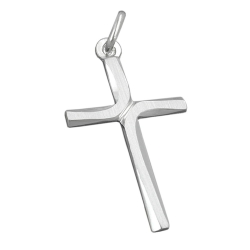 PENDANT, CROSS, SHINY - MATT, SILVER 925