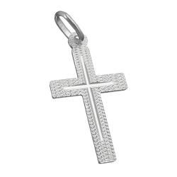 pendant cross, diamond cut, silver 925